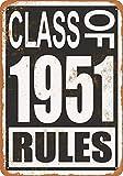 なまけ者雑貨屋 Class of 1951 Rules ブリキ看板 壁飾り レトロなデザインボード ポストカード サインプレート【20×30cm】