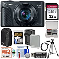 Canon PowerShot SX740 HS Wi-Fi 4K デジタルカメラ (ブラック) 32GBカード+バッテリー&充電器+ケース+三脚キット