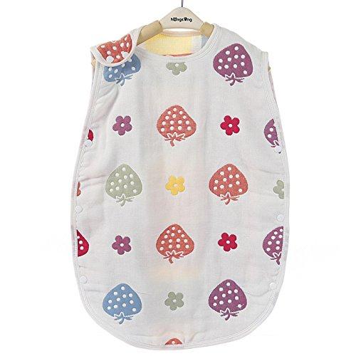 Nitaw 6重ガーゼ スリーパー ベビーパジャマ 通気 寝冷え防止 汗を吸収する 赤ちゃん寝袋 夏冬 冷暖房 ボタン開閉式 (S(40*60cm), ストロベリー)