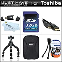 """32GB Accessory Kit For Toshiba Camileo S30 S20 BW10 HD Pocket Camcorder Includes 32GB High Speed SD Memory Card + Hard Case + 7"""" Flexible Tripod + Mini HDMI Cable + USB 2.0 SD Card Reader + LCD Screen Protectors + More 141[並行輸入]"""