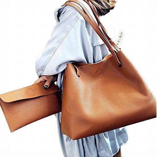(ガラ?ボ) バッグ レザーバッグ かばん 鞄 2つセット 通勤 通学 就職活動 大人 きれいめ A4 入る 学生 (ブラウン)