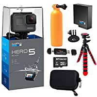 GoPro HERO5 Black Camera Extra GoPro Rechargeable battery Lexar Action Camera Case Flexible Tripod Polaroid 8GB MicroSD card and Accessory Bundle