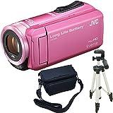 JVC KENWOOD Everio HDビデオカメラ GZ-F100-P ピンク 内蔵メモリー32GB 3点セット ( 本体 + 三脚 + カメラバッグ )