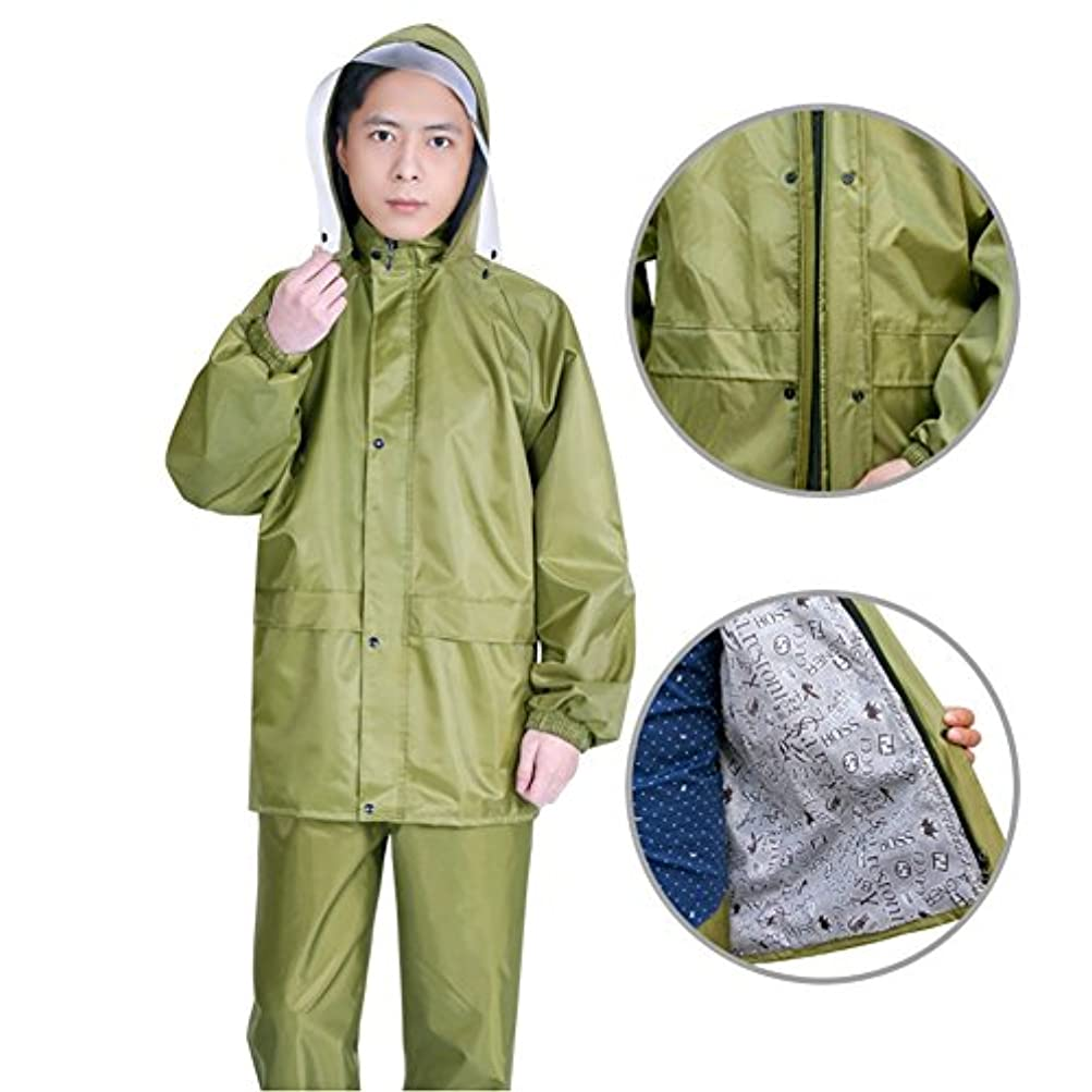 PENGFEI レインコート 太いキャンバス 防水 レインコート ジャケット レインパンツ ライディング 帽子の庇 分割タイプ 男性 女性 陸軍黄色、 2仕様 5サイズ (色 : 結合層, サイズ さいず : XXL)