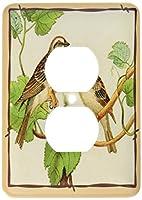 3drose LSP 39035_ 62つプラグコンセントカバーwithツリーFramedタンとブラウンの鳥