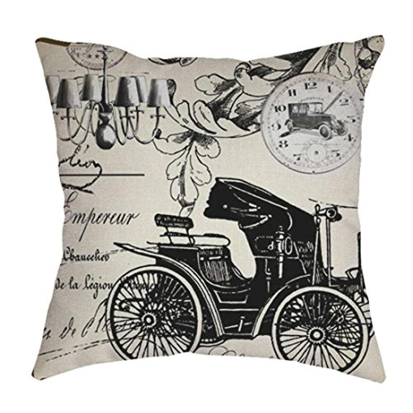 露名詞ルームMhomzawa クッションカバー 馬車プリント クラシック ピローケース 抱き枕カバー 可愛い 装飾 背当て お部屋 ソファー 椅子 車 正方形 装飾 おしゃれ (多色)