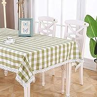 QY テーブルクロス テーブルクロスコットンとリネン格子タッセルエッジ小さな新鮮なスクエアコーヒーテーブルテーブルクロス長方形キッチンレストランデスクトップの装飾 QY テーブルクロス (色 : 緑, サイズ さいず : 90x150cm)