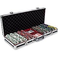 500 CtモナコClub Poker ChipセットinブラックアルミニウムCarryケース、13.5-gram HeavyweightクレイComposite by Claysmithゲーム