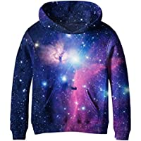 SAYM Girls' Galaxy Fleece Sweatshirts Pocket Pullover Hoodie