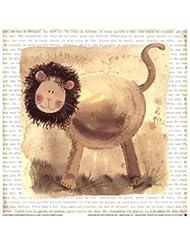 Lion on Safari by Alex Clark – 7 x 7インチ – アートプリントポスター LE_220772