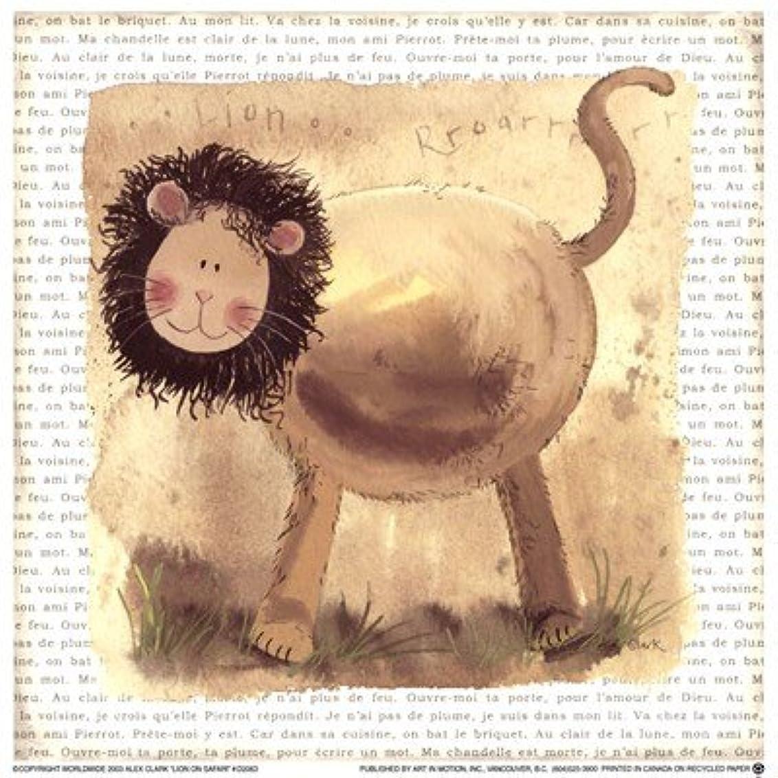満足請願者寮Lion on Safari by Alex Clark – 7 x 7インチ – アートプリントポスター LE_220772
