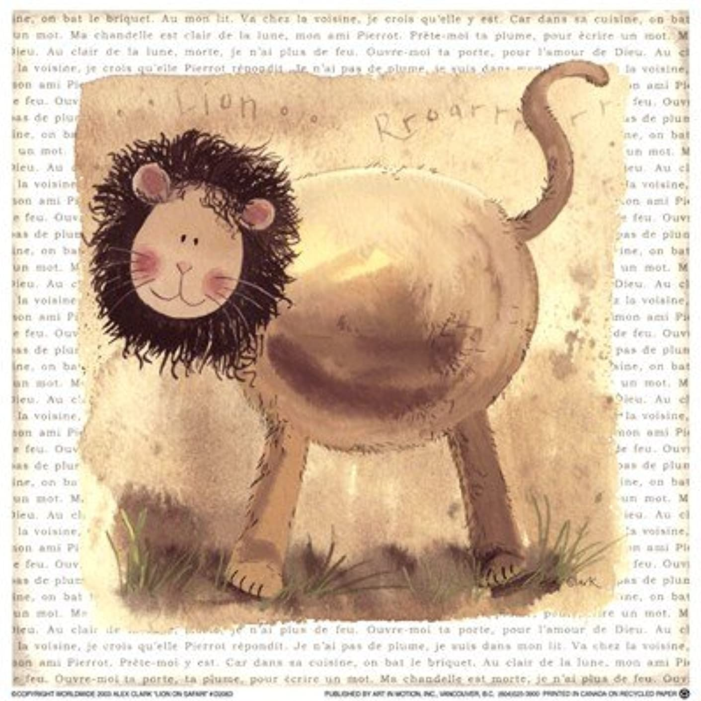 万一に備えて利点慎重Lion on Safari by Alex Clark – 7 x 7インチ – アートプリントポスター LE_220772