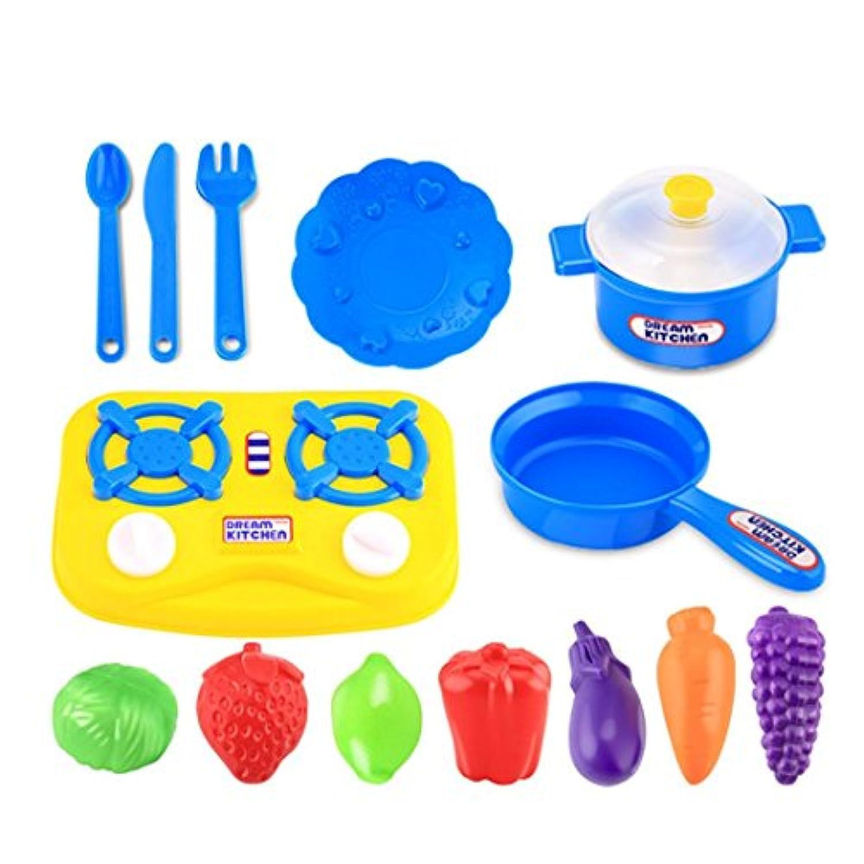 vibola 15pcs台所用品プラスチックキッズ子供Food Cooking Pretend Playセットおもちゃシミュレーションキッチンテーブルウェア