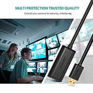 UGREEN USB延長ケーブル 5M リピーターケーブル USB2.0 延長 アクティブ 高速転送 信号強化 タイムラグなし 取り回し良い USB Extension Cable Aオス-Aメス