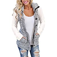Blibea Womens Sleeveless Hoodies Sweater Vest Button Cable Knit Cardigan Coats