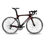 BEIOU ® 2016 700C ロードシマノ105 自転車 580011Sレーシング 自転車 T800-M40カーボンファイバーエアロフレーム 超軽量 18.3lbs CB013A-2 (マットブラック&レッド, 540mm) [並行輸入品]