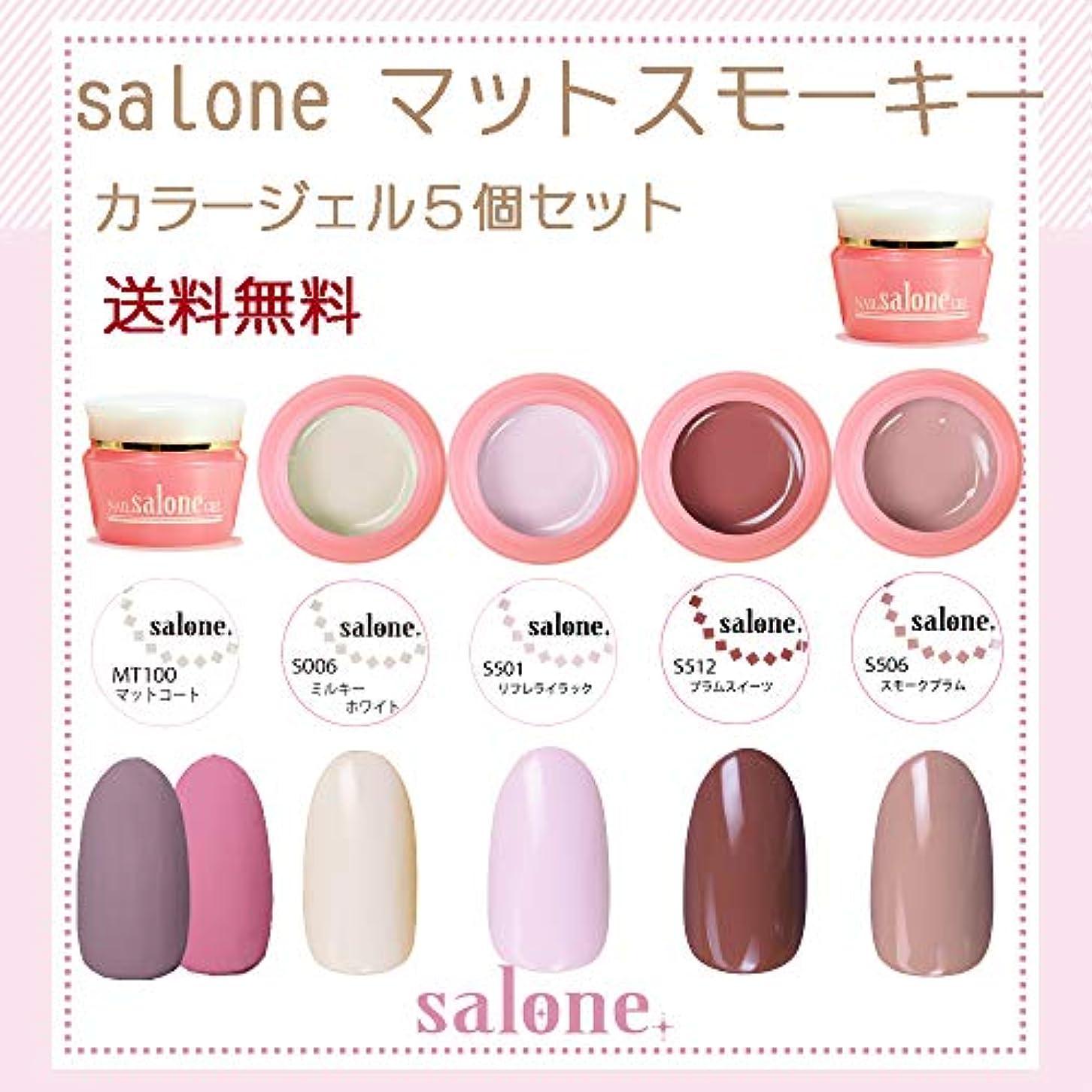 シャー包囲一定【送料無料 日本製】Salone スモーキーマットスモーキー カラージェル5個セット ネイルのマストアイテムのマットトップ