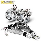RACBOX LEDヘッドライトセット H1 LEDバルブ*2+2.5インチプロジェクター*2(シルバー) H4 H7 タイプも適用 6000K車検基準対応