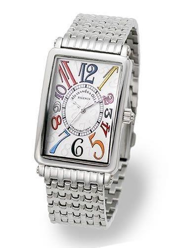 アレサンドラオーラ AO-1990-3 メンズ ブレスウォッチ シルバー/ホワイト・マルチカラー トノー型腕時計 [並行輸入品]
