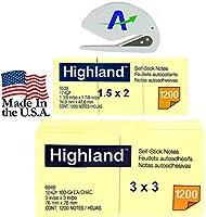 Highlandノート値バンドル、Includes 12の3x 3インチサイズと12の1.5X 2インチパッド、Plus Bonus advantageopカスタムLetter Opener (65396549) 3 x 3, 1.5 x 2 イエロー