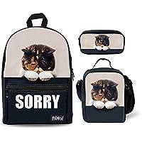 INSTANTARTS Cute Animal Backpack Set Canvas School Bag Bookbag 3 in 1