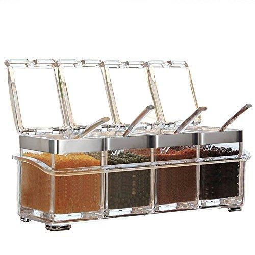 HUYOU(ふよう)調味料入れ 调味料ボトル スパイス ラック 塩 コショウ 砂糖入れ クックポット 有機ガラス 瓶 保存容器 匙付け 家庭キッチン用 業務用 四個セット (ホワイト)
