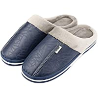 Attain Sunshine Ltd Men's Leather Slippers with Non Slip Sturdy Sole House Shoes Fur Memory Foam Warm Indoor & Outdoor