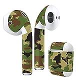 Air Pods 専用 デザインスキンシール airpods エアポッド apple アップル イヤフォン イヤホン カバー デコレーション アクセサリー エアフリー デコシール チェック・ボーダー 模様 グリーン 緑 迷彩 008469