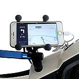 BlueFire バイク用 スクーター スマートフォンホルダー 12V USBポート 360度回転 調整可能iPhone各種/Samsung Galaxy HTC ソニー対応