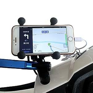 BlueFire バイク用スクーター スマートフォン用ホルダー 12V USBポート 360度回転 調整可能 iPhone各種/ Samsung Galaxy/ HTC/ ソニーXperiaに対応