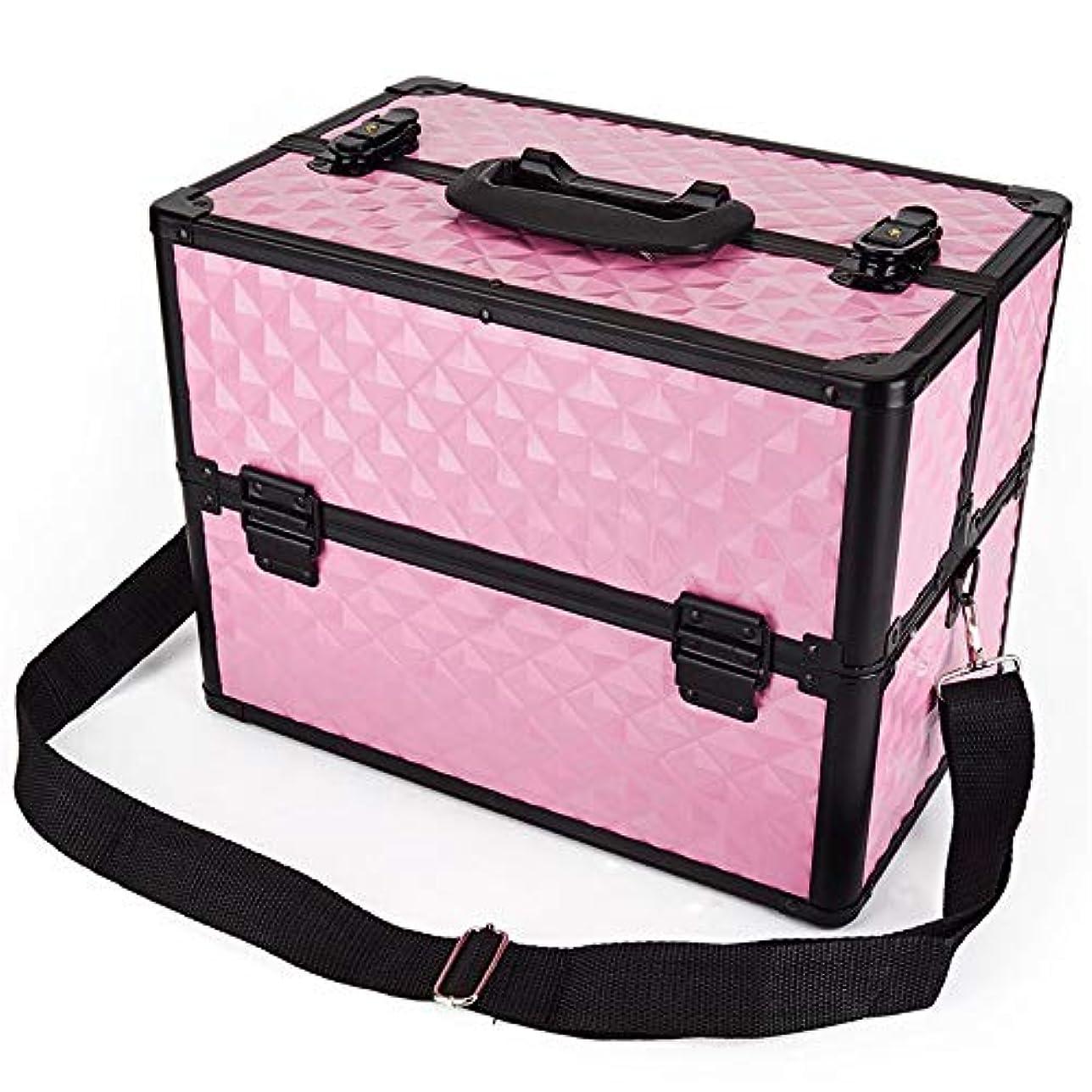 化粧オーガナイザーバッグ 多機能ポータブルプロの旅行メイクアップバッグパターンメイクアップアーティストケーストレインボックス化粧品オーガナイザー収納用十代の女の子女性アーティスト 化粧品ケース (色 : ピンク)