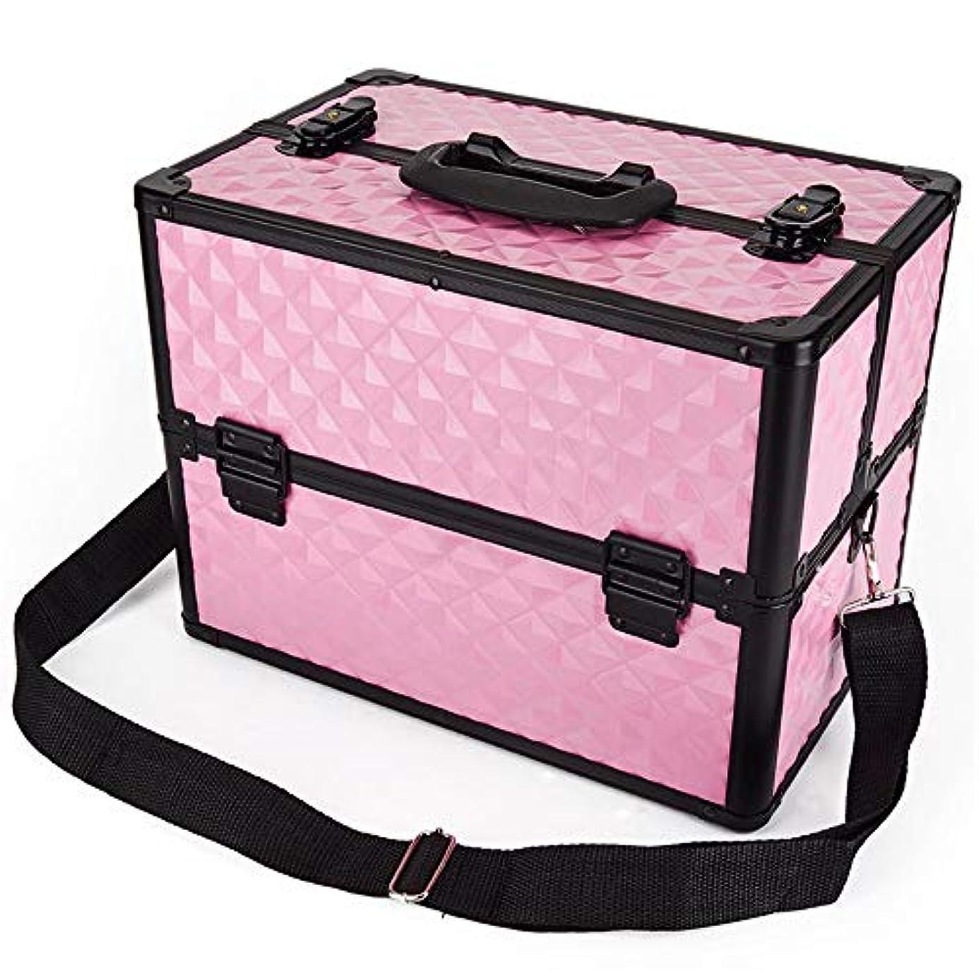 急行する業界植生化粧オーガナイザーバッグ 多機能ポータブルプロの旅行メイクアップバッグパターンメイクアップアーティストケーストレインボックス化粧品オーガナイザー収納用十代の女の子女性アーティスト 化粧品ケース (色 : ピンク)