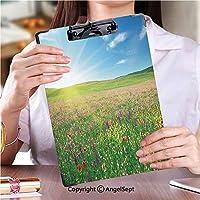 屋外スケッチポータブルスケッチクリップ ファイルボード花の春の牧草地ストック画像 (2個)