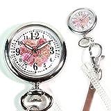 選べる 2way 蓄光 ナースウォッチ ホワイト クリップベルトorスプリングバネ 付け替え可能 シルエット デザイン ナース用 懐中時計 (ローズピンク)