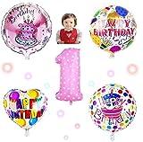 JIN SELF 【誕生日5点セット!】 風船 バルーン 誕生日 パーティー お祝い 飾り付け 飾り 装飾 装飾品 デコレーション (一歳:女の子)