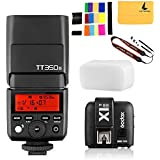GODOX TT350S Mini Flash TTL HSS 1/8000s 2.4G Wireless with X1T-S Flash Trigger Transmitter 2.4G Wireless Remote Transmitter for Sony Mirrorless Camera Cameras a7R a58 a99 ILCE6000L a77II RX10