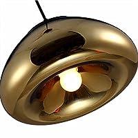 IJ Injuicy照明Tom Dixonヴィンテージ工業銅真鍮ボウルミラーガラス天井ペンダントライトシェードレトロLEDエジソン天井ライト寝室キッチンリビングルーム Dia. 300mm Gold IJ INJUICY