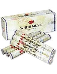 HEM(ヘム) ホワイト?ムスク WHITE-MUSK スティックタイプ お香 6筒 セット [並行輸入品]