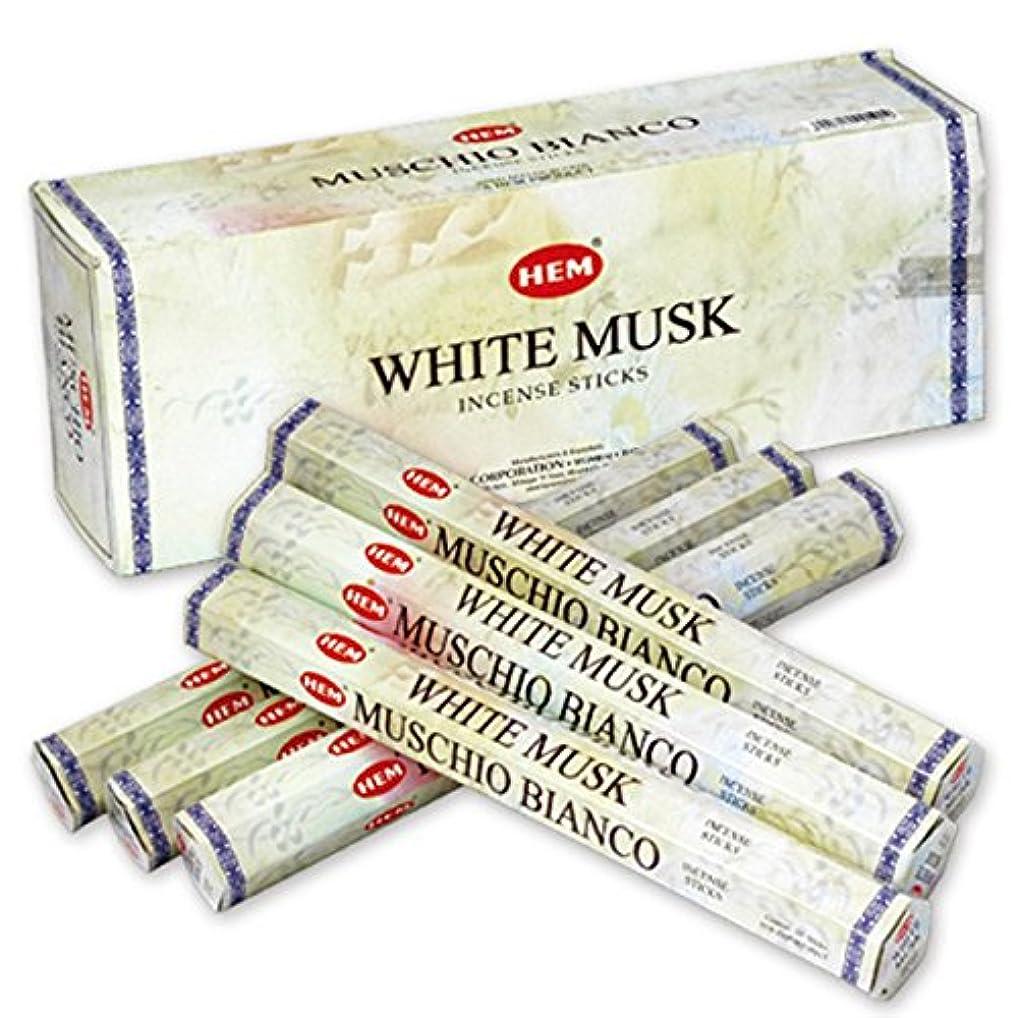 に慣れ蜜ボタンHEM(ヘム) ホワイト?ムスク WHITE-MUSK スティックタイプ お香 6筒 セット [並行輸入品]