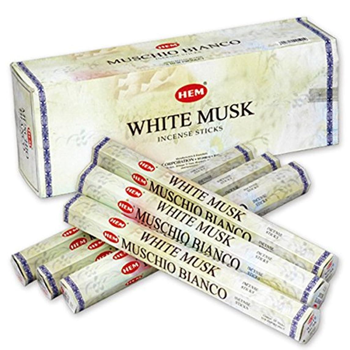 気をつけて敬意を表して些細HEM(ヘム) ホワイト?ムスク WHITE-MUSK スティックタイプ お香 6筒 セット [並行輸入品]
