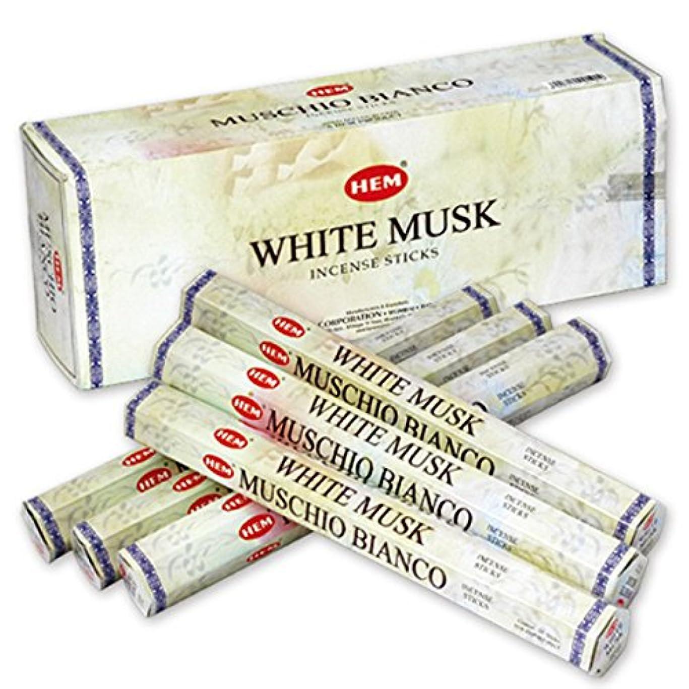 出しますカポック植生HEM(ヘム) ホワイト?ムスク WHITE-MUSK スティックタイプ お香 6筒 セット [並行輸入品]
