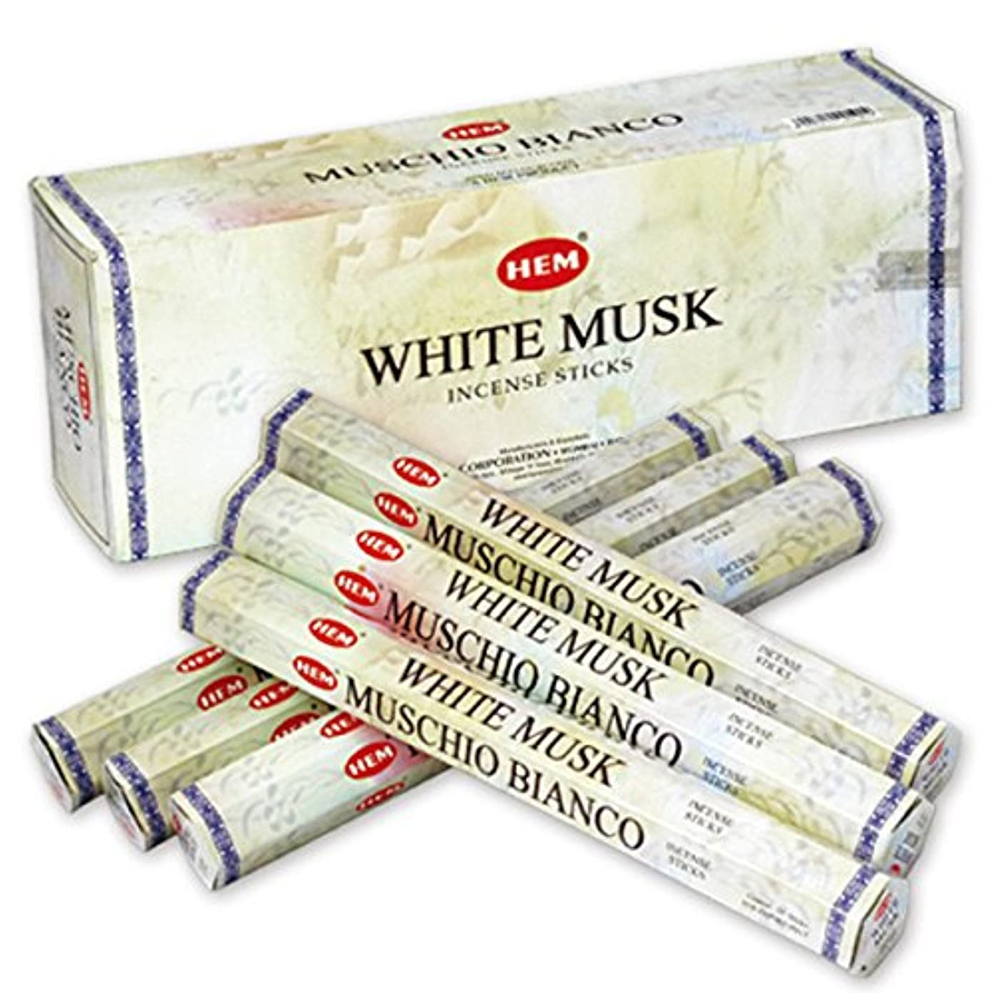 プロット眩惑する練るHEM(ヘム) ホワイト?ムスク WHITE-MUSK スティックタイプ お香 6筒 セット [並行輸入品]