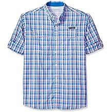 Columbia Men's Super Low Drag Long Sleeve Shirt Vivid Blue Plaid Large