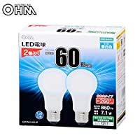 OHM LED電球 E26 60形相当 全方向 密閉形器具対応 昼白色 2個入 LDA7N-G AG5 2P 【人気 おすすめ 通販パーク】