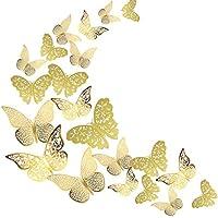 蝶々 36個入 かわいらしい蝶の部屋 蝶 壁紙 立体 クリスマス 記念日 装飾 3D かわいい バタフライ ウォールステッカー - 3種類 - ゴールド