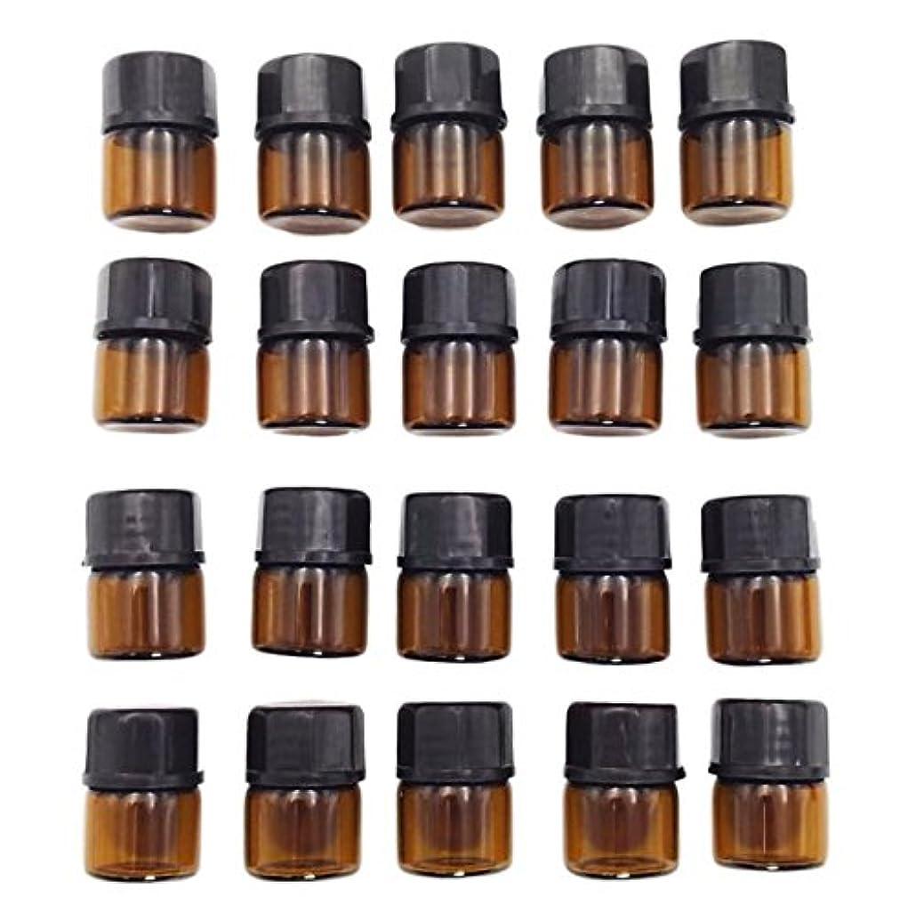 ベット輝くDH.SR アロマオイル 小分け用 ガラス 遮光瓶 保存容器 ゆとりの20個セット エステサロン仕様 移し替えに便利な スポイト 付き (1ml, 遮光)