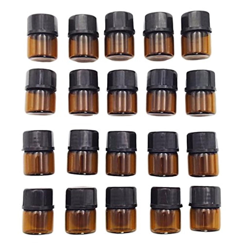 予見する扱う解釈的DH.SR アロマオイル 小分け用 ガラス 遮光瓶 保存容器 ゆとりの20個セット エステサロン仕様 移し替えに便利な スポイト 付き (1ml, 遮光)
