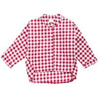 Mornyray Newborn Unisex Babys Shirt Long Sleeve Plaid Autumn Girls Shirt Staggered Length Design Button Snap Open Lapel Girls Daily Polo Shirt Fashion Wild Girls Casual Daily Outfit(3-8T)