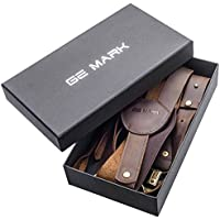 Leather Suspenders - for Men and Women - Best for Gift and Wedding - by GE MARK