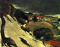 ¥5K-200k 手書き-キャンバスの油絵 - 美術大学の先生直筆 - 10 名画 - L Estaque under 雪景色 Cezanne ポール・セザンヌ 風景 ポスト印象派 - 絵画 洋画 手描複製画 -05